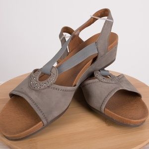 ara Women's Sutton Grey Nubuk Sandals Wedges 10.5